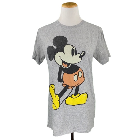 Disney Mickey Mouse Gray Short Sleeve Crew Neck Graphic Tee